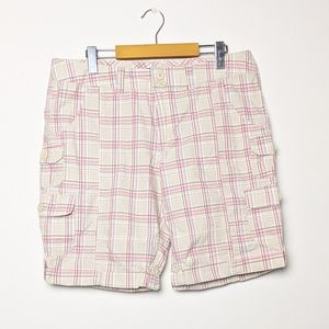 George cream and pink plaid 100% cotton shorts